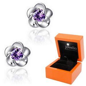 Lila-Zirkonia-Blume-Ohrstecker-Ohrstick-aus-925-Silber-Luxus-LED-Schmuckbox