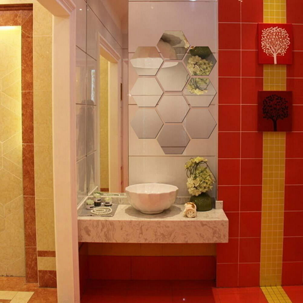 New 120Pcs 3D Mirror Hexagon Vinyl Removable Wall Sticker ...