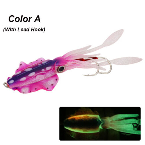 Glow Fishing Tackle Squid Skirt Lure Saltwater Octopus Bait hook long tail