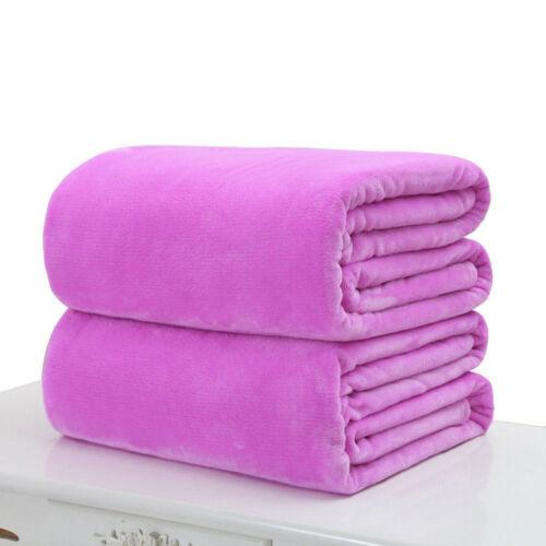 NEW Super Soft Warm Solid Warm Micro Plush Fleece Blanket Throw Rug Sofa Bedding