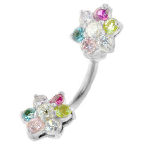 Multi-Color-Flower-Jeweled-Design-Navel-Ring-Body-Jewelry