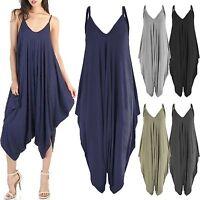 Women Ladies Baggy Fit Jumpsuit V Neck Cami Strappy Top 3/4 Harem Pants Playsuit