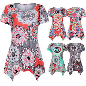 Women-Summer-Short-Sleeve-Swing-Tunic-Floral-T-Shirt-Casual-Loose-Tee-Top-Blouse