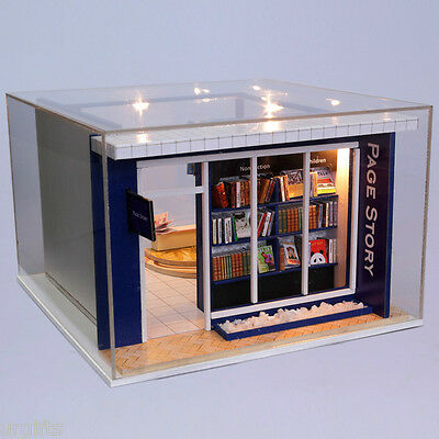 Dollhouse Miniature DIY Model Kit w Cover Page Story Book Shop Stall Store House