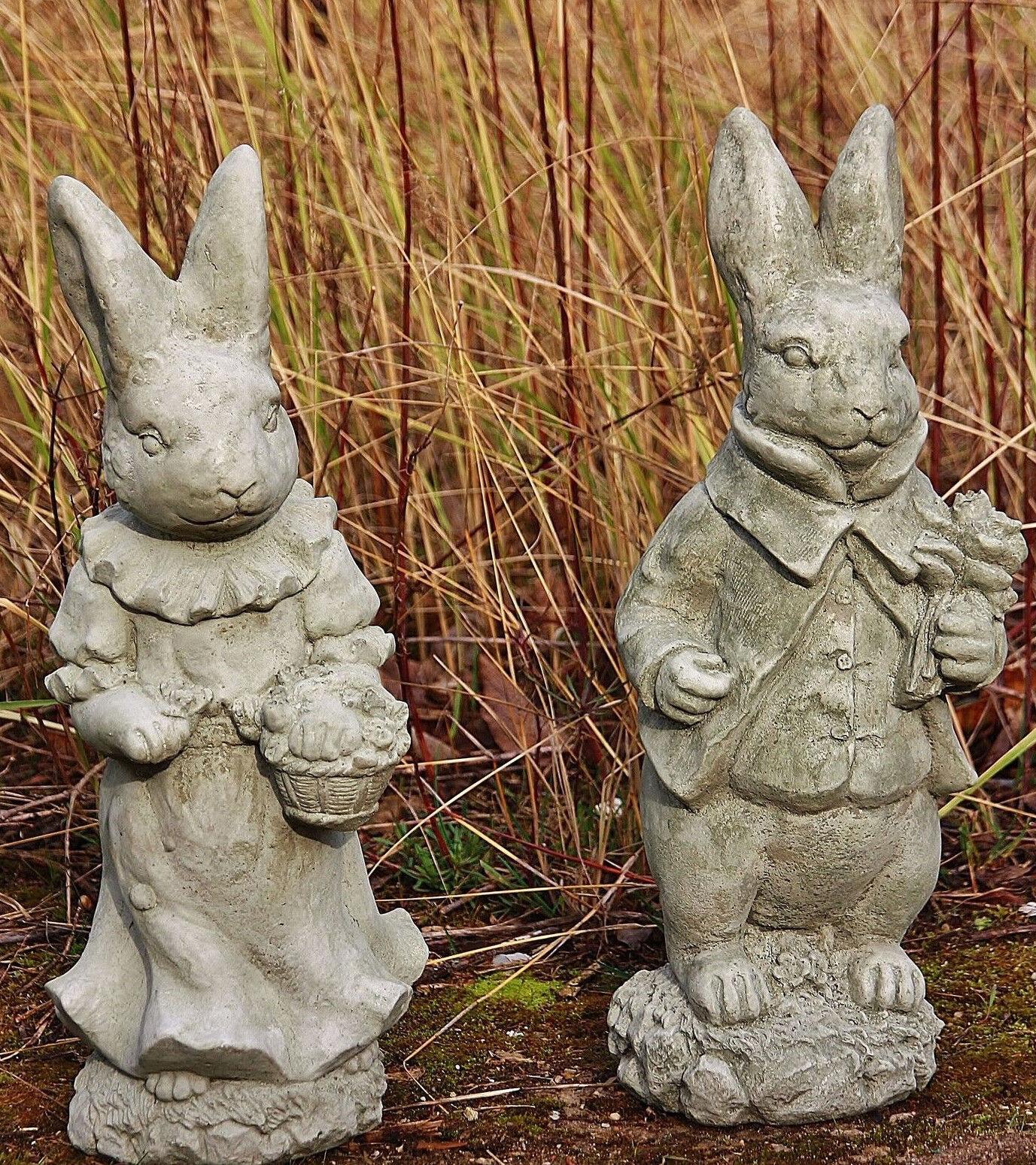 Dos liebres como set, piedra fundición, señor & mujer conejo, nuevo, Frost Festival, figuras su-2147