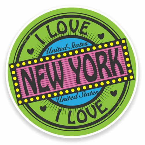 2 x 10 cm I LOVE New York USA Vinyle Autocollant Decal portable voyage bagages tag # 9476