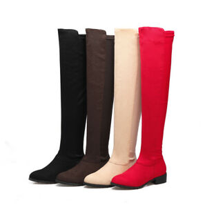 Womens-Over-The-Knee-High-Thigh-Flat-Ladies-Long-Suede-Low-Heels-Boots-Size-3-12