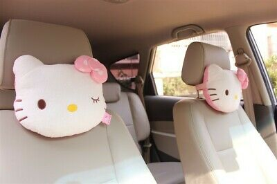 2PCS Pink Color Lovely Hello Kitty Car Neck Rest Pillows Soft and Cute Pillows