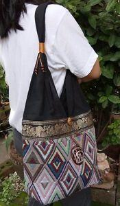 a5b046f80c3d Thai Hippie Boho Shoulder Bag Sling Yaam Yam Elephant Cotton ...