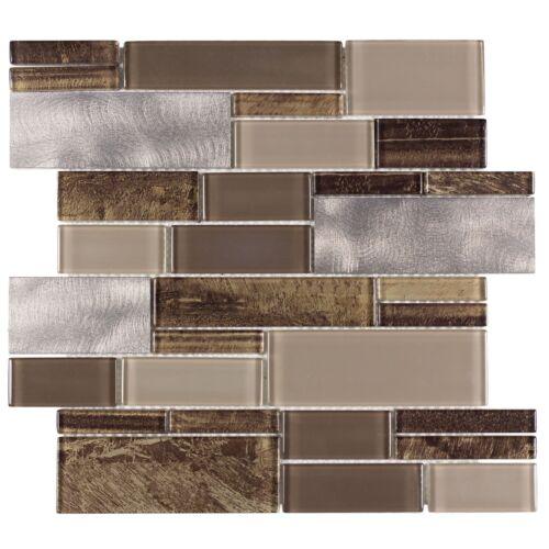 Modern Linear Brown Glossy Metallic Glass Metal Backsplash Tile Wall MTO0005