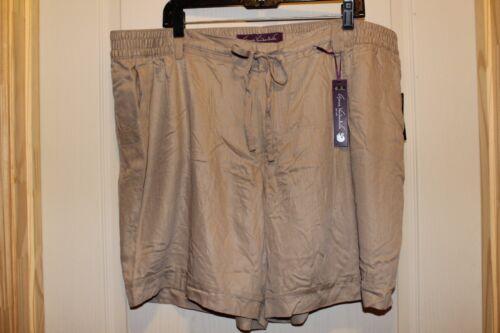 GLORIA VANDERBILT MOLLY Casual//Dress Khaki Tan Light Rayon Shorts Elastic 20W