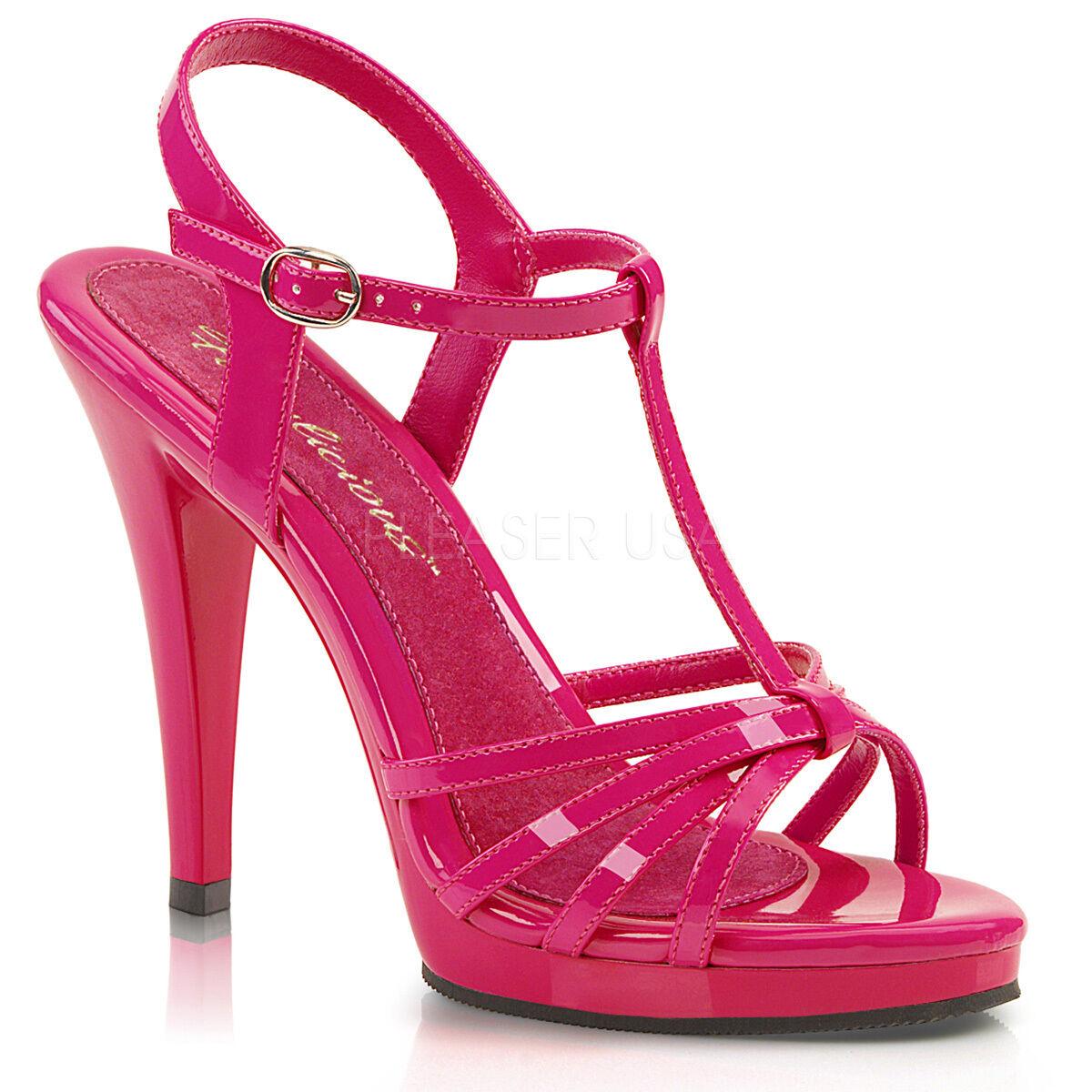 Fabulicious 4.5  Heel Mini Platform Hot Pink Buckle Multi Strap Sandals 5-16