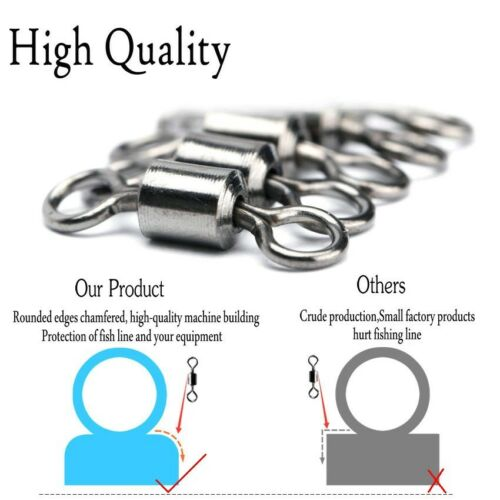 200PCS//Pack Fishing Barrel Bearing Rolling Swivel Solid Ring Connector 1#-14#