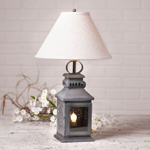 Details About Miner S Lamp With Shade Antique Tin Primitive Country Colonial Home Lighting