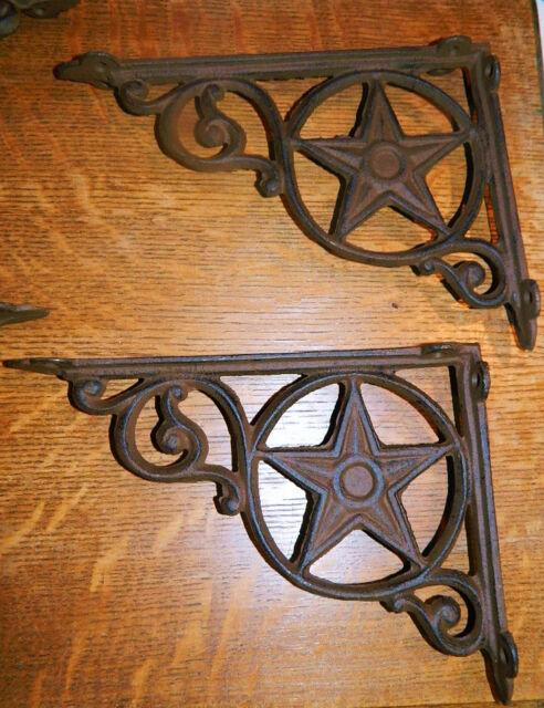 "Set//4 ~9/"" Rustic Western Star Texas Cast Iron Shelf Support Wall Brackets Lodge"