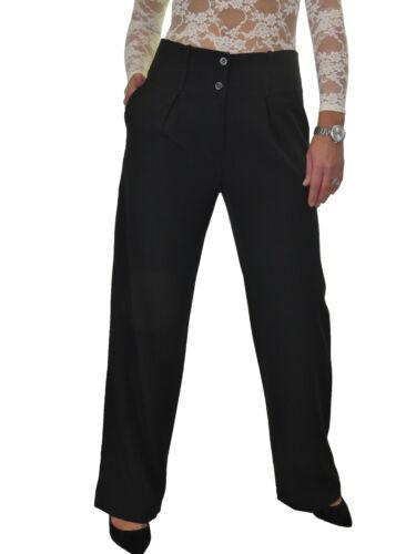 Femmes Doux Wide Legged Smart plaine Pantalon Noir Nouveau 10-22