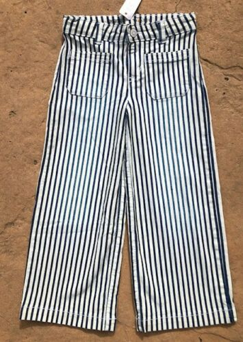 18 Gymboree Girls//Toddler Culottes Pants White Pinstripe w// Adj waste NWT