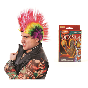 Mohican Wig & Tattoo Sleeve Peter Wright Darts WDC Mohawk Punk Rocker Spiky