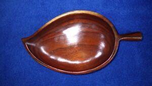 Vintage-Hawaiian-Koa-Wood-Tiki-Bar-Luau-Leaf-Dish-Kaniela-Kona-Hawaii
