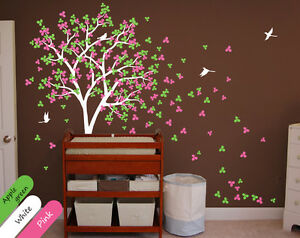 Baby nursery wall decals Wall tree mural with Birds Leaves and Blossoms KR002_2