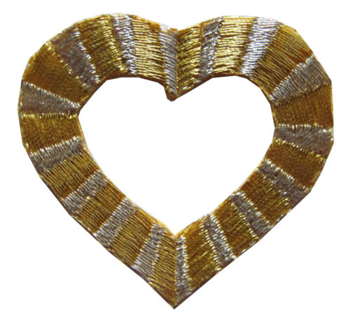 Lot 2Pcs Golden Silver Heart Embroidery Iron On Applique Patch