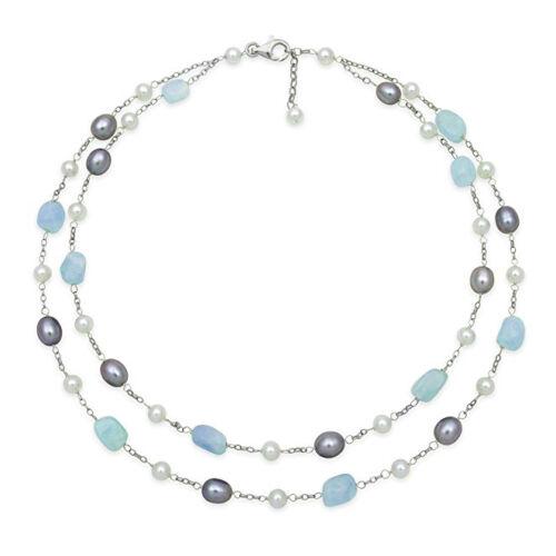 Silver Freshwater Pearl /& Laiteux Aigue-Marine Chaîne SetBoucles d/'oreilles Collier Bracelet