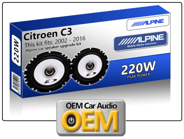 "Citroen C3 Pluriel Front Door speakers Alpine 17cm 6.5"" car speaker kit 220W Max"