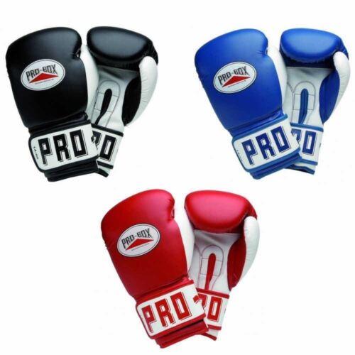 Pro Box Boxing Sparring Gloves Black Red Blue 8 10 12 14oz 16oz Club Essentials