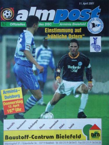 Programm 2000//01 Arminia Bielefeld MSV Duisburg