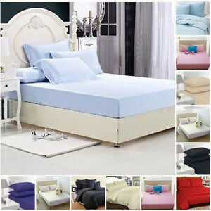 FITTED-SHEETS-PERCALE-PLAIN-DYED-LUXURY-COMBED-NON-IRON-SINGLE-DOUBLE-KING