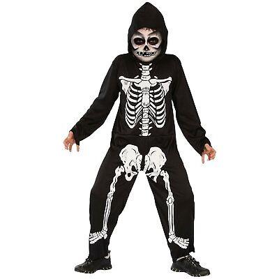 Skelett Kostüm für Kinder schwarz-weiß - Halloween Skelett Kostüm Jungen 008870