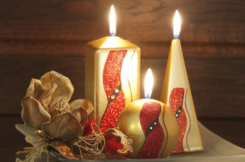 PYRAMID in GOLD PILLAR RED or WHITE COLOUR WAVE CANDLE BALL BLOCK