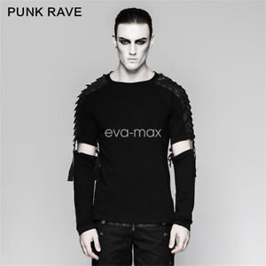 PUNK-RAVE-Men-Long-sleeves-Black-T-Shirt-Blouse-Shirts-Gothic-Steampunk-Top-Rock