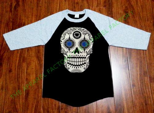 New Men/'s Day of the Dead Sugar Skull Black Baseball Raglan T Shirt death tee