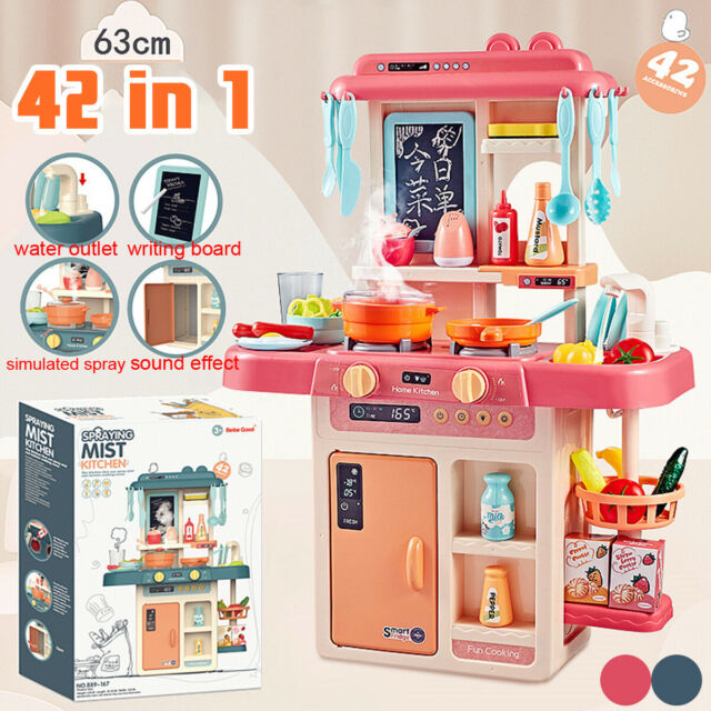 42PCS Kitchen Playset Play Children Toy Food Grill Cooking Set With Light  Sound