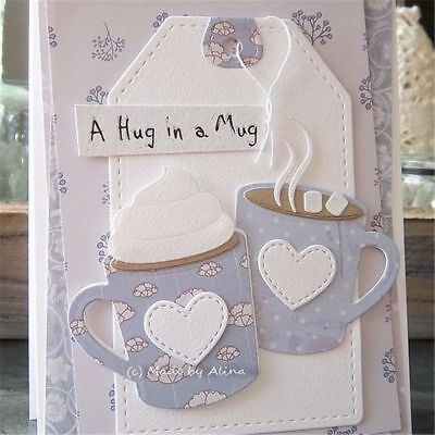 DIY Metal Cutting Die Stencils Clear Stamps For Scrapbooking Xmas Coffee Cup Mug