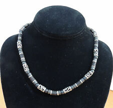 """Bali Black Heishi Tubular and Silver Cut Out Metal Beaded 17"""" Necklace"""