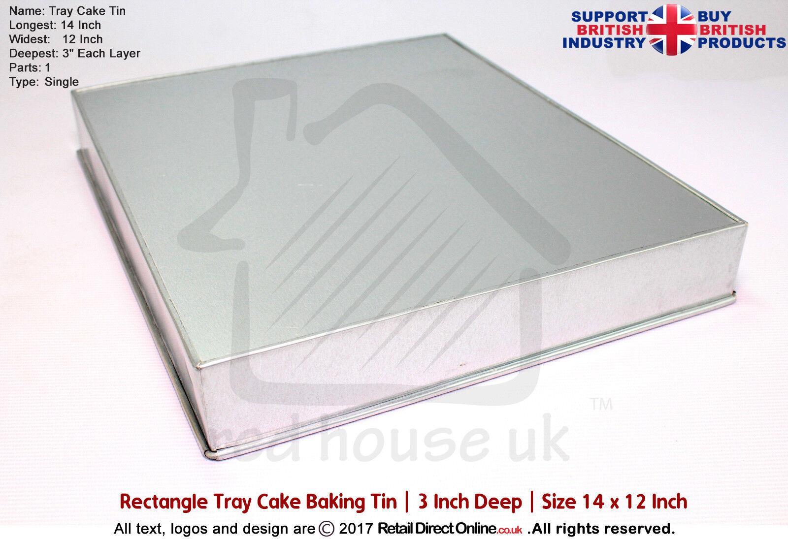 Rectangle Oblong Cake Baking Tin Pan plateau   14  x 12  x 3  Deep