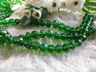 1 Strang facettierte Glasperlen in dunkelgrün, 8mm, Perlen basteln und verzieren