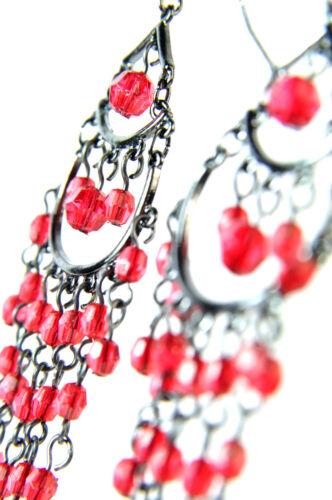 Elegante impresionante Rojo Gruesa Multi Capa pendientes Noche desgaste del partido A20