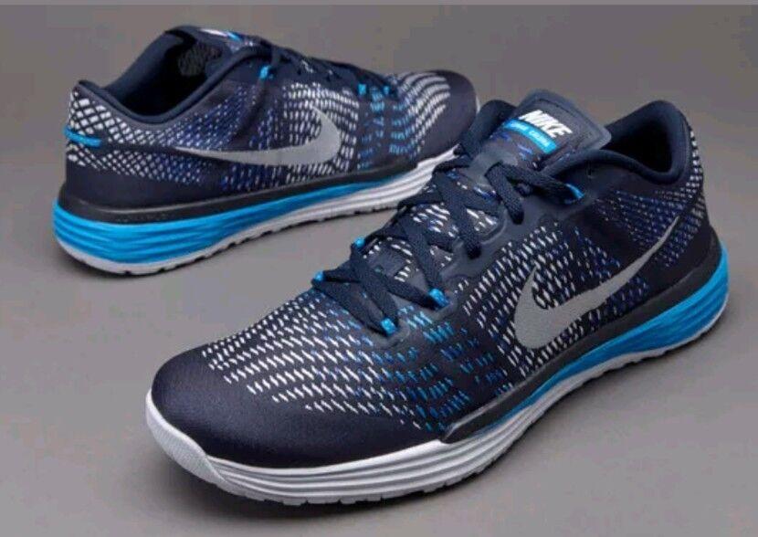 New NIKE Lunar Caldra Cross Training Shoes Mens black gray / Blue Mens Sz 7.5