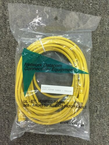 New sealed Cat 5 Patch Cable UL-ETL VERIFIED TIA-EIA 568-A RJ45 25 ft yellow
