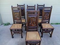 Set of 6 Substanitial French Brittany Breton HIghly Carved Side Chairs 1860-1890