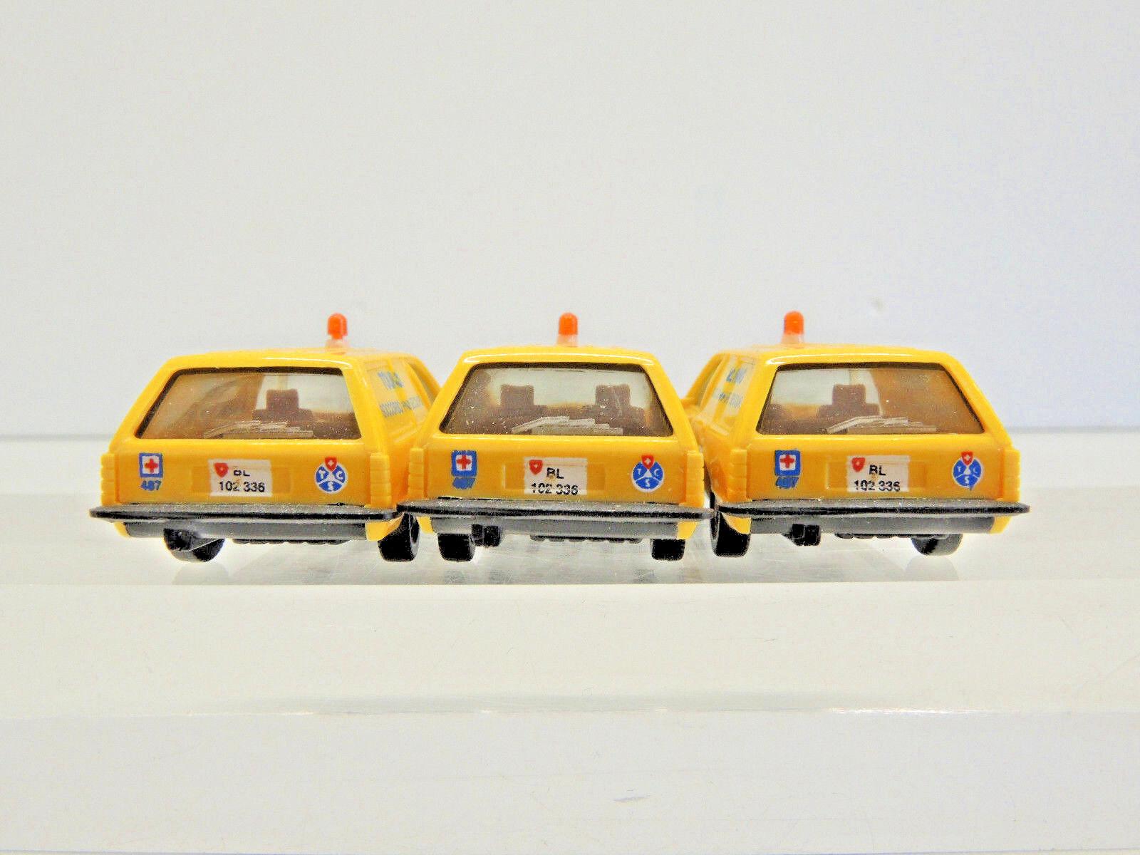 Herpa 3 x Opel Opel Opel Rekord Caravan 2.0E Touring, TCS  Schweizer Rettungsauto 140, 4b301a