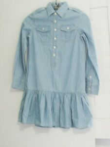 Polo-Ralph-Lauren-Girls-Chambray-Cotton-Long-Sleeve-Shirtdress-Indigo-Blue-Sz-8