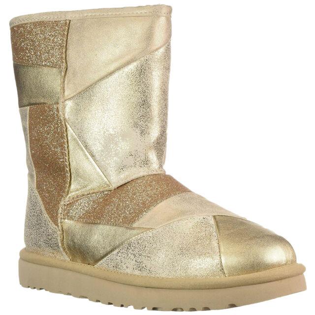 44c2cd1f833 UGG Classic Short Glitter Patchwork Gold Shearling Boot US 10 / EU 41 / UK 8