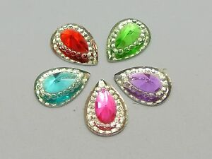 100-Mixed-Color-Acrylic-Flatback-Teardrop-Rivoli-Rhinestone-Gems-13X10mm-Pyramid