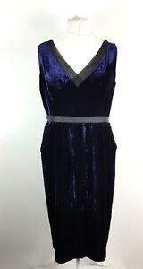 Marks-amp-Spencer-Limited-Blue-Velvet-Silk-Mix-Fit-amp-Flare-Evening-Dress-UK-18