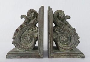 2-Buchstuetzen-Antikes-Motiv-Ornament-Nostalgie-Akanthus-Vintage-antik-NY07-a