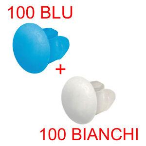 100 BLU e 100 BIANCHI Bottoni fissaggio targa sul portatarga Auto Moto ecc LAMPA
